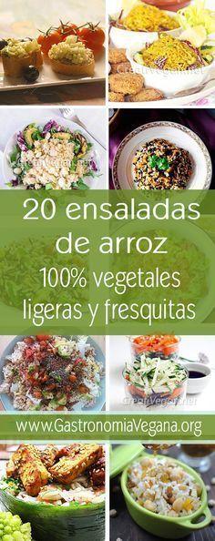 20 Recetas de ensaladas de arroz veganas, ligeras, completas y frescas, para este verano http://www.gastronomiavegana.org/recetas/20-ensaladas-de-arroz-veganas-ligeras-y-frescas/