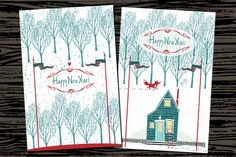 Merry Christmas Happy New year cards by Nenilkime on Creative Market