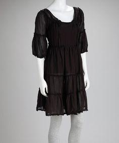 Black Tiered Silk Blend Beach Dress by Textures Women on #zulilyUK today!