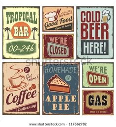 Vintage style signs. Retro metal signs vector collection. Without drop shadow, transparency and gradients. - stock vector