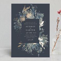 """Fantasy"" - Foil-pressed Wedding Invitations in Noir by Lori Wemple."