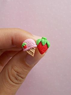Food earrings Ice cream stud earrings Miniature food jewelry Cute earrings gift: A delicious pair of strawberry and ice cream stud earrings. Yummm! The lenght of each earring is 1.2 cm. ❀ Because i make everything by hand, the item you receive may differ slightly than shown on the pictures.