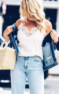 #fall #outfits White Lace Tank + Denim Jacket + Bleached Jeans