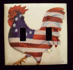 Rooster Kitchen Decor | Double Light Switch Plate Cover American Flag Rooster Kitchen Decor