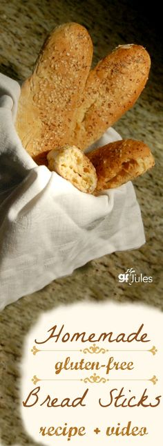 Soft and yummy homemade gluten free breadsticks with recipe and easy how-to video |gfJules.com