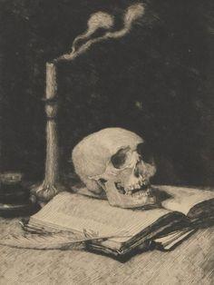 Still life with a Skull (1905 - Etching / Drypoint) - Ignacy Łopieńska [2nd version on S4H]