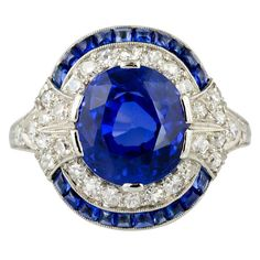 Art Deco 4.10CT Royale Blue Sapphire Engagement Wedding 925 Sterling Silver Ring #Splendidmerchants #SolitairewithAccents
