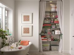 Like the use of the curtain to conceal storage in an alcove  Organise My Home - Bathroom storage shelving & accessories