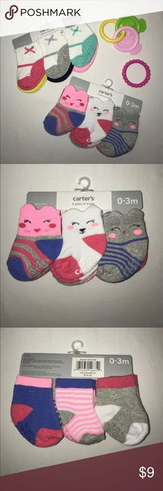 Carter's Six Pack of Baby Girl Socks This listing is for a six pack of socks for a new baby girl by Carter's.  These socks are cushy socks in pinks, blues, and gray with cute little faces woven into the socks.  These are sure to make you smile while keeping your little bundle of joy's toes toasty.  They are made of a cotton/poly blend that is washable.  NWT & smoke-free. Carter's Accessories Socks & Tights
