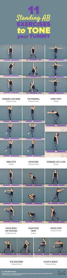 Tone and strengthen your tummy anywhere with these easy standing ab exercises! The added benefits? Improved balance, better posture, and no workout mat needed. Get the exercise Fitness Workouts, At Home Workouts, Fitness Motivation, Ab Workouts, Exercise Motivation, Standing Ab Exercises, Mat Exercises, Exercise Moves, Stability Exercises