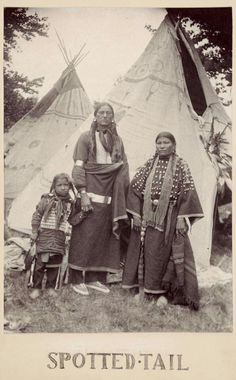 Spotted Tail and family. Lakota. ca. 1898. Photo by Gertrude Kasebier. (Antique photo of Native American)