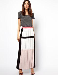 ASOS Pleated Maxi Skirt in Colour Block