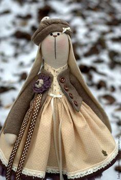 Купить Текстильная зайка Chantal В поисках весны .... 38 см - зайка тильда