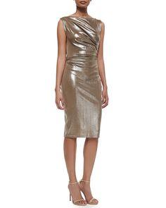 Frosted Draped Jersey Sheath Dress, Size: SMALL, Platium - Talbot Runhof