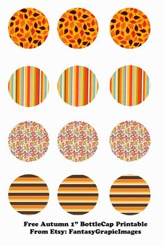 "Free Autumn Printable Bottle Cap - 1"" Circle Collage Sheets from Etsy Store FantasyGraphicImages"