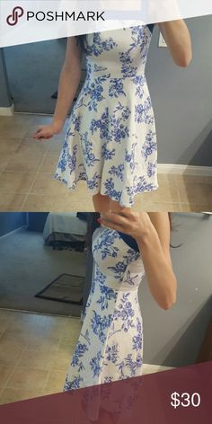 """Modcloth Toile Time Favorite dress This retro inspired dress by Myrtlewood/ModCloth is simply adorable! Toile print has birds and flowers.  Worn once.  Length 37"""" 97% Cotton 3% Spandex side zipper closure.  XS but would work best for smaller bust size.   Reviews available if you search for them. ModCloth Dresses"""