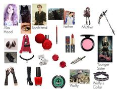 """Alex Hood Daughter of  Little Red Riding Hood and The Big Bad Wolf"" by alexandria-trzos ❤ liked on Polyvore featuring OPI, Kevyn Aucoin, Sugarpill, Once Upon a Time, MAC Cosmetics, Kate Spade and Fallon"