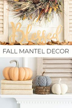 Spruce up your home decor with these neutral fall mantel ideas. #falldecorating #falldecor #falldecorideas #manteldecor #mantelideas #fallmantle