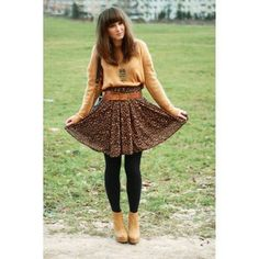 Cute fall outfit.... No black tights and flats instead.