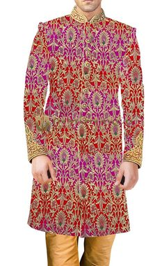 Mens Magenta and Red Kheenkhap 2 Pc Sherwani Embroidered #mensfashion #occasionwear #wedding #collection #Sherwani #traditional #fashions #clothes #discount #offers