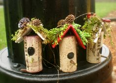 Christmas Table Games Wine Cork Birdhouse Ornaments by Margaret Wilbur Henkle Wine Cork Ornaments, House Ornaments, Handmade Ornaments, Christmas Tree Ornaments, Christmas Decorations, Glitter Ornaments, Angel Ornaments, Wine Craft, Wine Cork Crafts