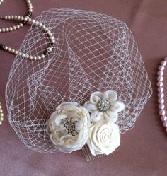 Champagne Hair Flower Bridal Headpiece by MagicBluebellDesigns