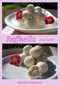 Raffaello low carb Köstlichkeit Low carb Raffaellos sind leckere Kokoskugeln mit einer Mandel gefüllt. Sie sind schnell selbstgemacht und gekühlt ein paar Tage haltbar. Zutaten: 100 g Speisequark 100 g Hüttenkäse oder Frischkäse 1 EL Kokosöl oder Mandelmus 1-2 EL Kokosmehl oder Mandelmehl Mark 1/2 Vanilleschote oder 1/2 TL Sonnentor Vanillepulver 1/2 TL Erythrit oder 1 TL Xylit 12 ganze Mandeln, geschält 30g Kokosflocken Zum Rezept: www.schlankmitverstand.com