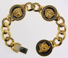 Versace Bracelet, Versace Jewelry, Luxury Jewelry, Gold Jewelry, Jewelery, Fine Jewelry, Gianni Versace, Bracelets For Men, Link Bracelets