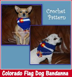 Posh Pooch Designs Dog Clothes: Flag Colorado Dog Bandanna Crochet Pattern | Posh Pooch Designs