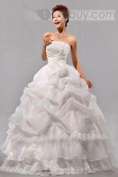 ボールガウンストラップレス ロング フラワー & ひだ飾り ウェディングドレス