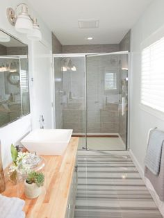 Chic Contemporary - Luxurious Bathroom Makeovers From Our Stars on HGTV small space, walk-in shower