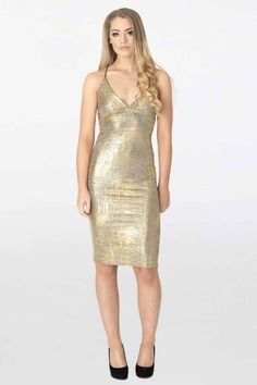 Metallic Gold Dress Midi