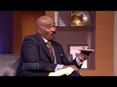 "Steve Harvey taste testing a stuffed fried chicken recipe by Ramone Dickerson and Corey Simmons from OWN's ""2 Fat 2 Fly"". - Too funny!  :-)"