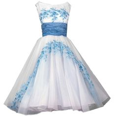 1950's Baby-Blue Embroidered Floral White-Chiffon Party Dress ($350) ❤ liked on Polyvore featuring dresses, vestidos, gowns and short dresses
