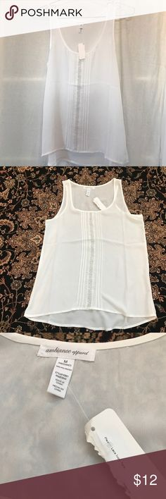 Beautiful Lace Ivory Tank NWT. Gorgeous pleated lace ivory tank from ambiance apparel. Size M. Ambiance Apparel Tops Blouses