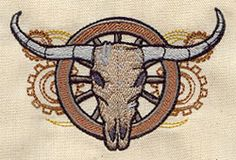 Embroidery Designs at Urban Threads - Western Steampunk - Steer Skull