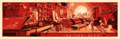 """""""The Desk of Mr. Coyote"""" by Rob Loukotka.  12"""" x 36"""" 3-color Screenprint.  Ed of 450 S/N.  $45"""