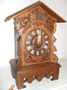 Beautiful rare black forrest  table--mantel cuckoo clock  Age approx 1895     Marked GHS   Gordian Hettich Sohn