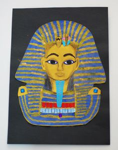 creating artworks by painting elements and then collaging them....gives students a better gap between painting and constructing an image. - that artist woman: King Tut Pastel Resist