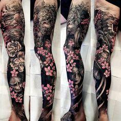 Ramón on- Ramón on Danny Birtwistle > Unnamed - Asian Tattoo Sleeve, Samurai Tattoo Sleeve, Full Sleeve Tattoos, Tattoo Sleeve Designs, Irezumi Sleeve, Japanese Leg Tattoo, Japanese Legs, Japanese Tattoo Designs, Japanese Sleeve Tattoos