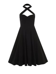 The Penny Flared Dress is the ideal dress to wear to Rockabilly gigs, and evening dances or all of the time. Featuring a criss-cross detailed halter neck with a hook closure, and a sweetheart neckline, the Penny Flared Dress is made from a high quality stretch bengaline that will hug your curves and accentuate your shape.