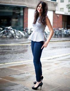 Gingham peplum top, skinny jeans and peep toe stilettos. Retro yet modern.