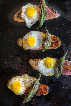 Tapa of Chorizo or Serrano Ham, Quail Eggs, and Padrons