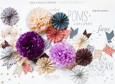 paper decorations from BHLDN. @Marisa McClellan Lerin, these tissue paper puffs would make fun elements!