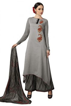 Cambric Cotton Party Wear Palazzo Pant Suit in Grey Colour.Being Gorgeous And Looking Gorgeous Has Only One Difference That Is This Dress. This Grey Colored Dress Is Totally A Diva Outfit.Its Fabricat...