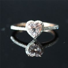 Rose Gold Lovely Heart Shaped Morganite Halo Diamond Engagement Ring /Heart Shaped Ring/Morganite Ring/Everyday Ring - Vogue Gem This is it. Heart Shaped Engagement Rings, Heart Shaped Rings, Halo Diamond Engagement Ring, Heart Ring, Engagement Bands, Pretty Rings, Beautiful Rings, Wedding Rings Rose Gold, Wedding Band