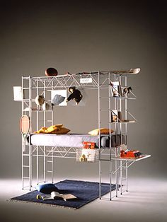 """Bruno Munari: """"Abitacolo Bed"""", is a play/educational structure in grey or red epoxy powder painted steel rod. Diy Lit, Nomadic Furniture, Urban Loft, H & M Home, Built In Storage, Home Improvement Projects, Shelving, Small Spaces, Architecture Design"""