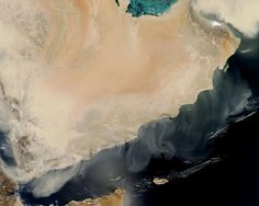 Sandstorm in Yemen. View from Space.