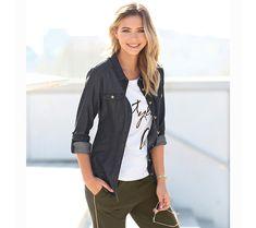 Džínová košile | modino.cz #modino_cz #modino_style #style #fashion #halenka #tunika #kosile Military Jacket, Leather Jacket, Denim, Jackets, Women, Fashion, Tunic, Studded Leather Jacket, Down Jackets
