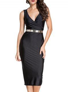 #Valentines #AdoreWe #Oasap - #oasap Women's V Neck Sleeveless Midi Bodycon Pencil Dress with Belt - AdoreWe.com
